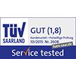 Zur Vergößerung des Zertifikats: TÜV Service tested - TÜV Saarland, Kundenurteil, freiwillige Prüfung, Test 10/2015 gut (1,8), Zert.-Nr. 2608