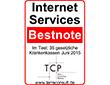 Zur Vergößerung des Zertifikats: Internet Services - Bestnote; Im Test: 35 gesetzliche Krankenkassen Juni 2013  - TCP - Terra Consulting Partners